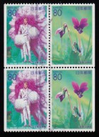 JAPAN - Scott #Z465-Z466 Takarazuka Revue Dancers & Villets, Hyogo / Used Block Stamp (bk575) - Blocks & Sheetlets
