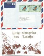 Lesotho Letter And Postcard Via Germany.motive Stamp - Birds - Lesotho (1966-...)