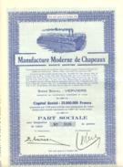 """ACTION """" Manufacture Moderne De Chapeaux SA """" VERVIERS  Avec 22 Coupons - Shareholdings"""