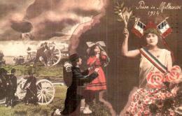 PRISE DE MULHOUSE 1914  POILU CANON FILLETTE MARIANNE - Guerra 1914-18