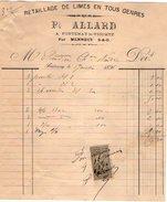 VP6856 -  Facture - Retaillage De Limes Pierre ALLARD à FONTENAY LE VICOMTE Par MENNECY - 1800 – 1899