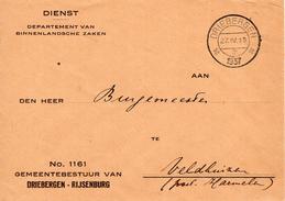 1937 Dienstbrief Van DRIEBERGEN -RIJSENBURG Naar Veldhuizen - 1891-1948 (Wilhelmine)