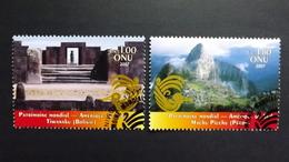 UNO-Genf 575/6 Oo/ESST, UNESCO-Welterbe: Südamerika, Vorkolumbische Ruinen Von Tiahuanaco, Inka-Bergfestung Machu Picchu - Office De Genève
