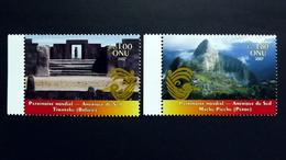 UNO-Genf 575/6 **/mnh, UNESCO-Welterbe: Südamerika, Vorkolumbische Ruinen Von Tiahuanaco, Inka-Bergfestung Machu Picchu - Neufs