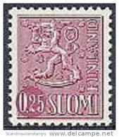 Finland 1963 0.25mk Leeuwentype Lila Type II PF-MNH-NEUF