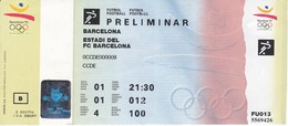 ENTRADA PRELIMINAR DE FUTBOL - OLIMPIADAS DE BARCELONA'92 EN EL ESTADI DEL F.C. BARCELONA (COBI) - Juegos Olímpicos