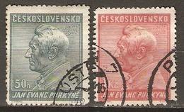 TCHECOSLOVAQUIE     -    1937 .   Y&T N° 329 / 330 Oblitérés.    Purkyné - Czechoslovakia