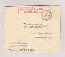 """Niederlande HAARLEM 27.2.1943 Brief Nach Berlin Mit Rot Im Kasten """" Durch Deutsche Dienstpost Niederlande"""" - Poststempel - Freistempel"""