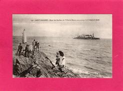 """44 LOIRE ATLANTIQUE, ST-NAZAIRE, Dans Les Rochers De Ville-és-Martin Au Passage De """"l'Amiral Aube"""", Animée - Saint Nazaire"""