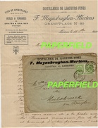 "Courrier & Enveloppe ""Distillerie De Liqueurs Fines F.MEYNSBRUGHEN-MERTENS-LESSINES""-1908 - Alimentaire"