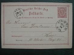 Allemagne - Postkart Carte Postale Entier Postal Vers 1870-1875 / OBLITERATION à VOIR / Deutsche Reich - Germany
