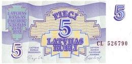 LATVIA 5 RUBLI 1992 P-37 UNC RARE !  [LV218a] - Latvia