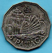 MACAO   5 Patacas  1992
