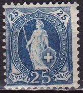 Switzerland / Schweiz / Suisse : 1907 Stehende Helvetia Faserpapier Mit WZ 1 25 C Blau Michel 89 D* - Unused Stamps