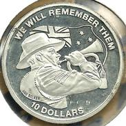 KIRIBATI ISLANDS $10 WWI MAN SOLDER  FRONT QEII HEAD BACK 2013 AG SILVER BUNC 1 YEAR  READ DESCRIPTION CAREFULLY!!! - Kiribati