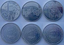 FRANCE 5X3 E 2013 ARGENTO EURO LIBERTE EGALITE FRATERNITE PESO 7,3g CONSERVAZIONE FDC UNC. - France