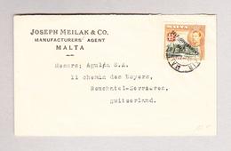 GB - MALTA VALLETTA AIR MAIL Brief Nach Neuchâtel Serrières - Malte (...-1964)