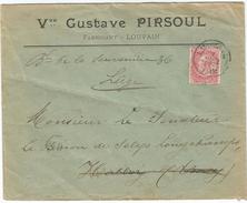 6Rm967: N°58-tab: E11: LOUVAIN 1901 > Habbay (Ciney) >> LIEGE  > [naar Een Echte Baron Selys..] Vve Gustave Pirsoul - 1893-1900 Schmaler Bart