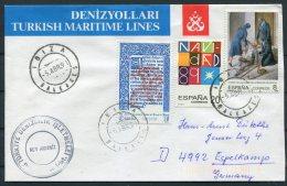 1991 Spain Ibiza Turkey Ship M/V AKDBNIZ  Cover - 1931-Today: 2nd Rep - ... Juan Carlos I