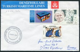 1991 Spain Cadiz Turkey Ship M/V AKDBNIZ Cover. Pope - 1931-Today: 2nd Rep - ... Juan Carlos I