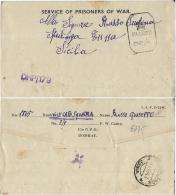 BIGLIETTO CAMPO PRIGIONIERI INDIA POW CAMP 3 BANGALORE 1943 X SPERLINGA - Posta Militare (PM)