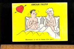 Humour Sexy Coquin : Au Lit Couple Nu : Je Suis La Femme D'un Cocu - Humour