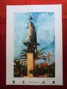 Foto Litografia SIDERNO, MONUMENTO AI MARINAI DELLO SCULTORE GIUSEPPE CORREALE Di Nello Cuzzola - PERFETTA - Litografia