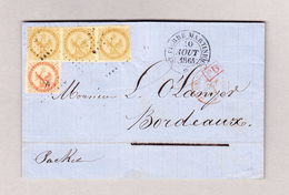 F ST PIERRE MARTINIQUE 10.8.1864 Brief O Inhalt Mit 40c Und 3er-Streifen 10c Aigle Impérial Brief Nach Bordeaux - Aigle Impérial