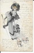 CPA Illustration Femme Aux Petits Chiens 11906 - Moda