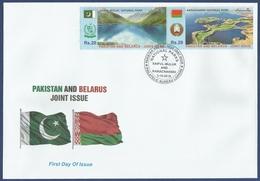 PAKISTAN MNH 2016 FDC FIRST DAY COVER JOINT ISSUE WITH BELARUS SAIFUL MULUK NATIONAL PARK MOUNTAIN WATER SEA NARACHANSKI - Pakistan