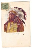 CHIEF RED CLOUD - INDIAN - EMBOSSED POSTCARD - STAMP - 1906 - RARE - Indiens De L'Amerique Du Nord