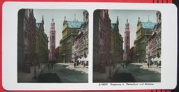 Stereofoto: Deutschland Bayern Augsburg (A) - Perlachturm Und Rathaus - Stereoscopio