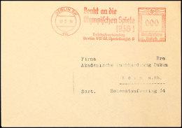 """1936, Berlin, Brief Mit Probeabschlag Des Roten Freistempels """"BERLIN SW 68 / 17-2-36 / Denkt An Die Olympischen... - Postcards"""