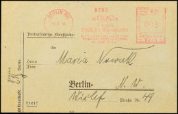 "1936, Berlin, Behördenbrief Mit Rotem Freistempler Mit Reklametext ""1936 Berlin Stadt Der Olympiade"" ... - Postcards"