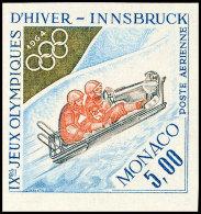 5 Fr. Flugpostmarke Winter-Olympiade 1964 Innsbruck, Zweierbob, UNGEZÄHNT Statt Gezähnt, Tadellos... - Monaco