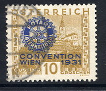AUSTRIA 1931 Rotary International Congress 10+10 Gr. Used.  Michel 518 - 1918-1945 1st Republic
