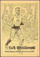 "1937, ""SA-Wettkämpfe Berlin Olympia Stadion..."" Postkarte Nr. 5, Frankiert Mit 6 Pf. Hitler-Blockmarke, SST,... - Germany"