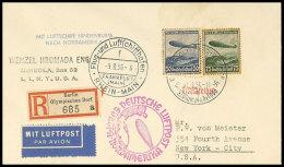 6. Nordamerikafahrt 1936, Auflieferung Olympische Spiele In Berlin, Einschreiben-Brief Mit Zeppelinfrankatur (etwas... - Germany