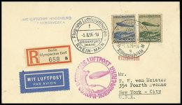 1936, 6. Nordamerikafahrt, Zuleitung Olympische Spiele, Einschreiben-Brief Mit Sonder-R-Zettel Und SST OLYMPISCHES... - Germany