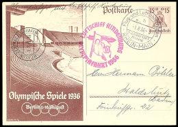 Olympiafahrt 1936, 15 Pfg Olympiade-GSK Mit Rückseitiger Zusatzfrankatur (u.a. Zusammendruck Mit... - Germany