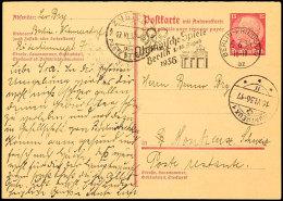 """15 Pfg. Hindenburg Bräunlichlila, Fragekarte Mit Werbestempel """"BERLIN-FRIEDENAU-15.6.36 / Olympische Spiele... - Germany"""