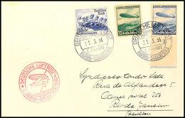 50 Pfg Und 75 Pfg LZ 129 In MiF Mit 25 Pfg Olympiade Auf Portogerechtem Luftpost-Brief Nach Brasilien, Die 75 Pfg... - Germany