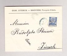 Türkei Constantinople 6.7.1884 Blau Brief Nach Zürich Mit 1 Piastre Mit Arab 3-fach Oktogon Stempel - Lettres & Documents