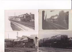 LOT DE 4 PHOTOS TRAINS A ETUDIER - Trenes