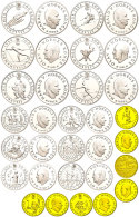 1991/1993, Set Zu 6 X 50 (Silber) Bzw. 6 X 100 (Silber) Und 4 X 1500 Kronen (1/2 Unze Gold), Olympische... - Norway