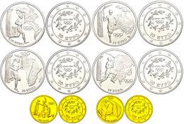 Set Zu 4x 10 Euro, Silber Und 2x 100, Gold, 2004, XXVIII. Olympische Sommerspiele In Athen - 4. Ausgabe, Je Im... - Greece