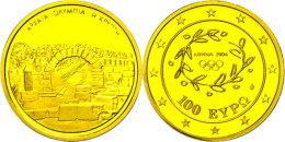 100 Euro, Gold, 2004, Krypta Am Einsang Zum Stadion Von Olympia, KM 195, Schön 156, Im Etui Mit OVP Und... - Greece