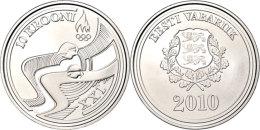 10 Krooni, 2010, XXI. Olympische Winterspiele 2010 In Vancouver, KM 53, Schön 53, Im Etui Mit Kapsel Und... - Estonia