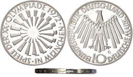 10 Mark, 1972 G, Olympische Sommerspiele, Randschrift Mit Arabesken! Mit Gutachten Franquinet, PP. Laut K. Jaeger... - Unclassified
