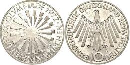 10 DM, 1972, Olympiade München, Mzz J, Rand Mit Arabesken, J. 401 B, Laut Jaeger Ca. 600 Exemplare, Ganz... - [ 7] 1949-… : FRG - Fed. Rep. Germany
